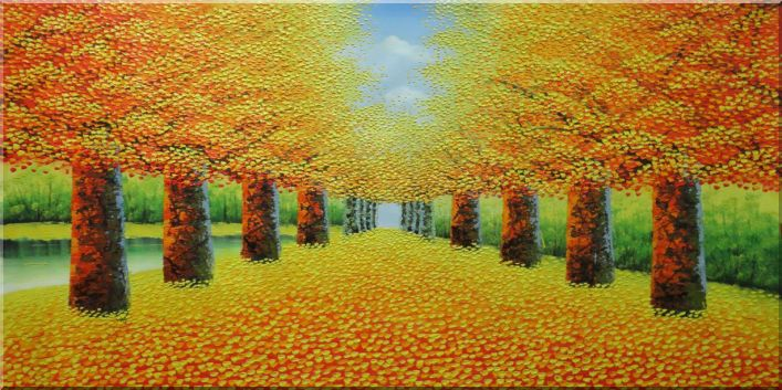 Beautiful Autumn Lane in the Forest Oil Painting Landscape Tree Naturalism 24 x 48 Inches