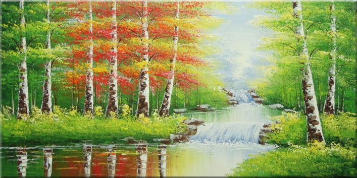 Waterfall, River Side Golden Trees in Autumn Oil Painting Landscape Naturalism 24 x 48 Inches