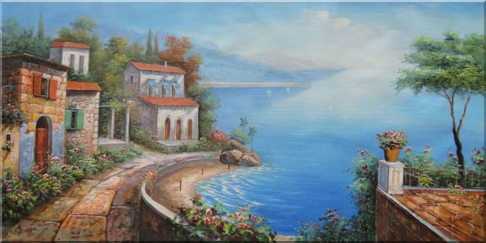 Stone Path Along Mediterranean Coast In a Pleasant Village Oil Painting Naturalism 24 x 48 Inches