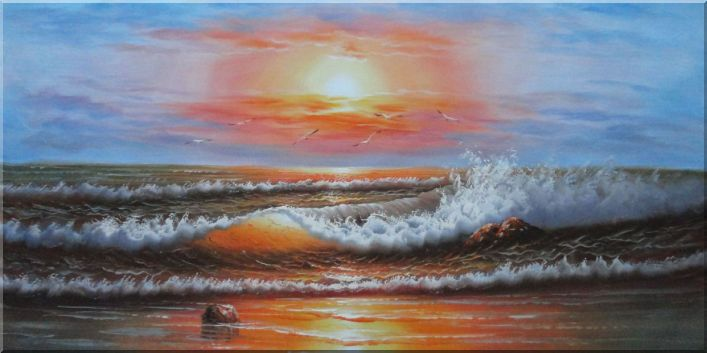 Huge Sea Waves and Seagulls Seascape Scene Oil Painting Naturalism 24 x 48 Inches