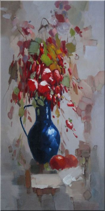 Beautiful Red Flowers in a Blue Vase Oil Painting Still Life Bouquet Decorative 48 x 24 Inches