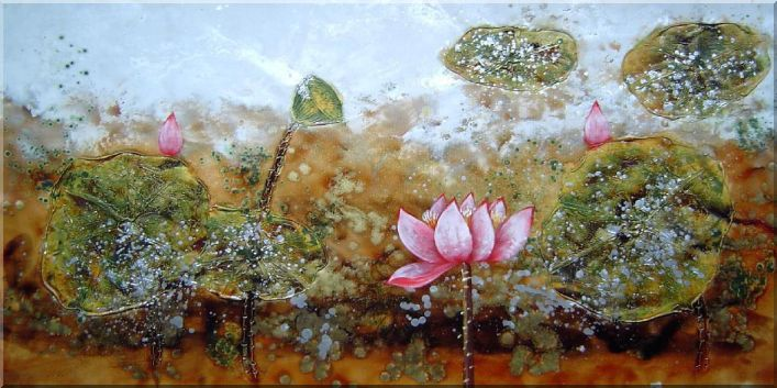 Modern Lotus Painting Oil Flower Asian 24 x 48 Inches