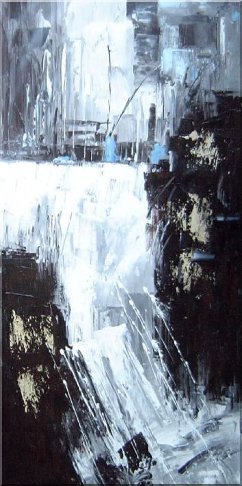 Modern Painting of Stream, Waterfall and Cityscape  - 2 Canvas Set 2-canvas-set,landscape,river decorative  48 x 48 inches