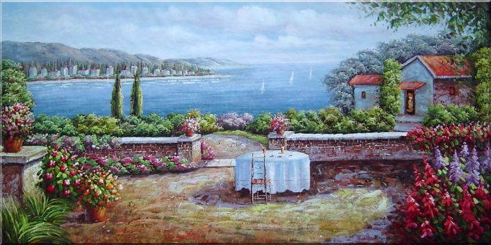 Wonderful Mediterranean Retreat Oil Painting Naturalism 24 x 48 Inches