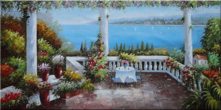 Mediterranean Patio and White Sailing Boats Oil Painting Naturalism 36 x 72 Inches