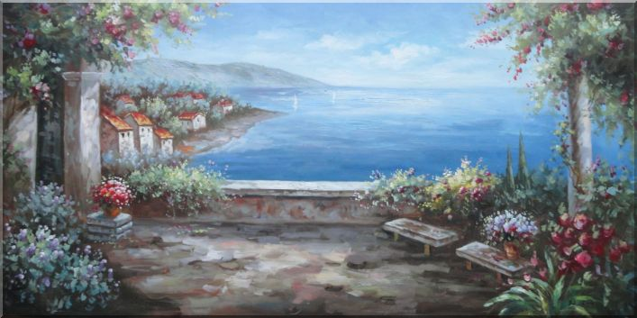 Pleasant Flower Garden Overlook Mediterranean Sea Oil Painting Naturalism 24 x 48 Inches