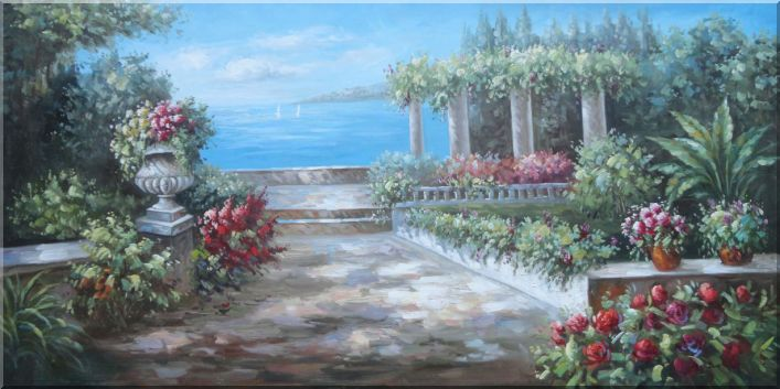 Ocean View From Beautiful Mediterranean Flower Garden Oil Painting Naturalism 24 x 48 Inches