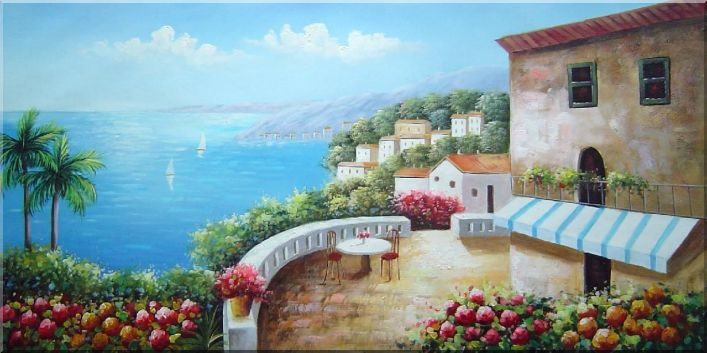 Mediterranean Seashore Dream House Oil Painting Naturalism 24 x 48 Inches