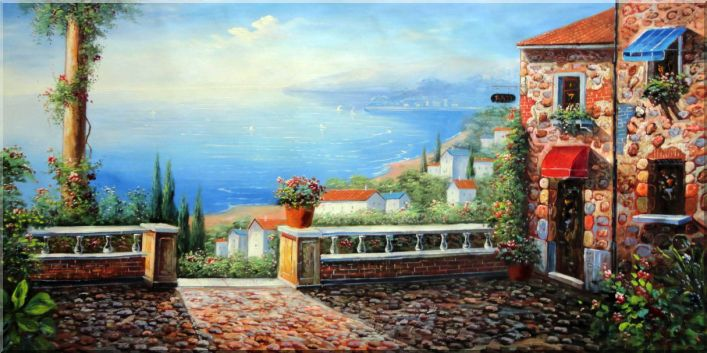 Coast Line on Adriatic Sea Oil Painting Mediterranean Naturalism 24 x 48 Inches