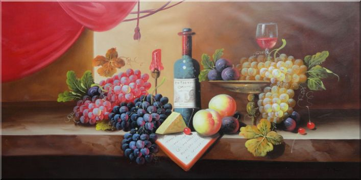 Wine Glass, Bottle With Fruit of Grapes, Peaches Oil Painting Still Life Classic 24 x 48 Inches