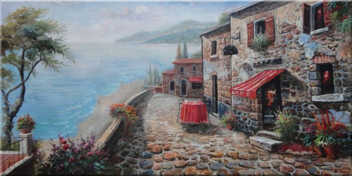 Stone House Cafeteria with Beautiful Coast View Oil Painting Mediterranean Naturalism 24 x 48 Inches