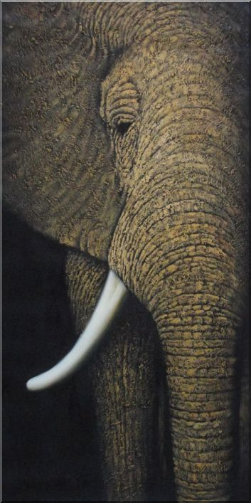 Large African Elephant Head I Oil Painting Animal Decorative 48 x 24 Inches