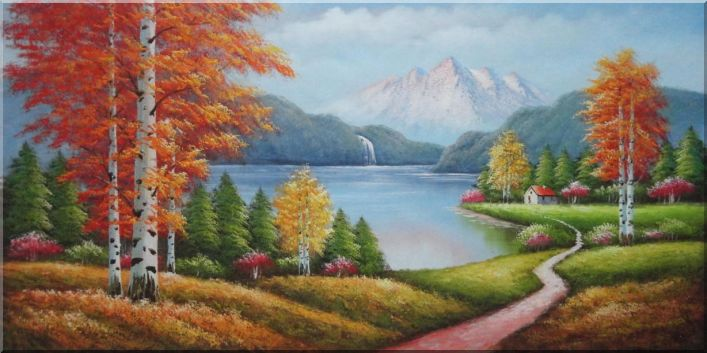 Peaceful Lake, Snow Mountain, Trail, Cottage, Waterfall and Autumn Trees Oil Painting Landscape River Naturalism 24 x 48 Inches