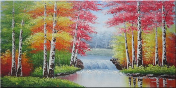 Waterfall In Autumn Forest Oil Painting Landscape Tree Naturalism 24 x 48 Inches