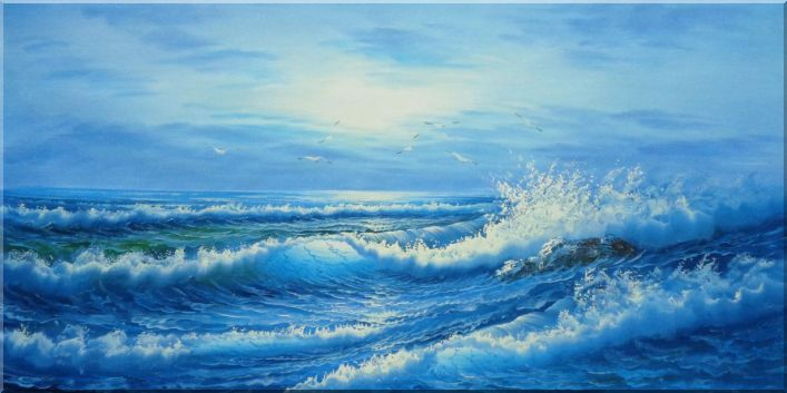 Waves Splashing in the Sea on Cloudy Day Oil Painting Seascape Naturalism 24 x 48 Inches