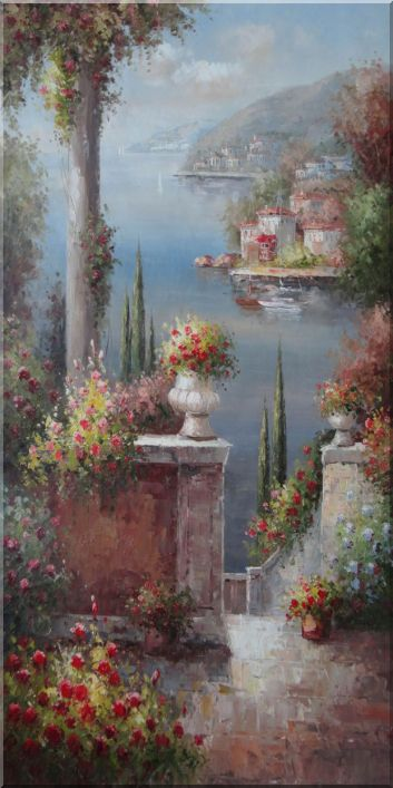 Large Beautiful Coast Pillar Flower Patio Garden in Mediterranean - 2 Canvas Set 2-canvas-set,mediterranean naturalism  48 x 48 inches