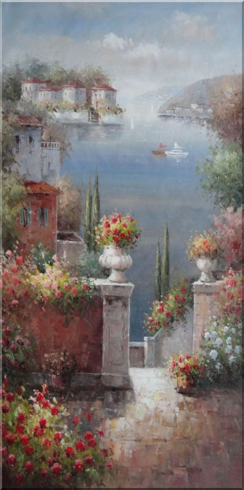 Flower Beach Terrace in Mediterranean Large Oil Painting Naturalism 48 x 24 Inches