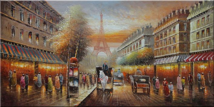 Paris Busy Street Toward to Effie Tower in Early 19th Century Oil Painting Cityscape France Impressionism 24 x 48 Inches