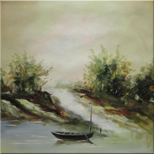 Small Boat Parking at the Convergence of two Streams Oil Painting Landscape River Impressionism 22 x 22 Inches