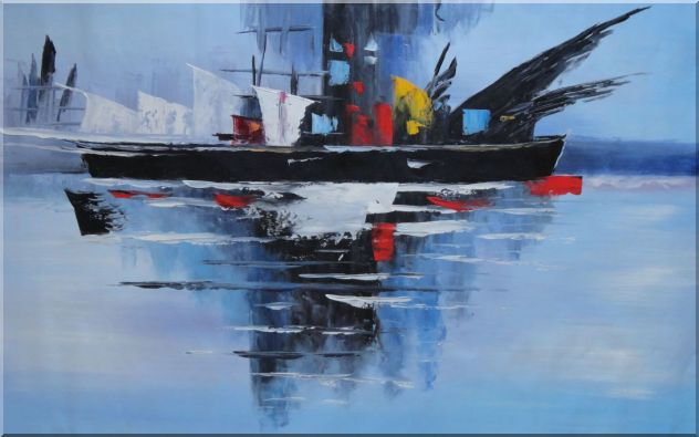 Ship On Ocean in Modern Setting Oil Painting Boat 30 x 48 Inches