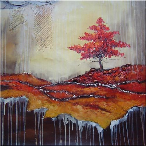 Modern Tree In Winter Ice Oil Painting Landscape Decorative 32 x 32 Inches