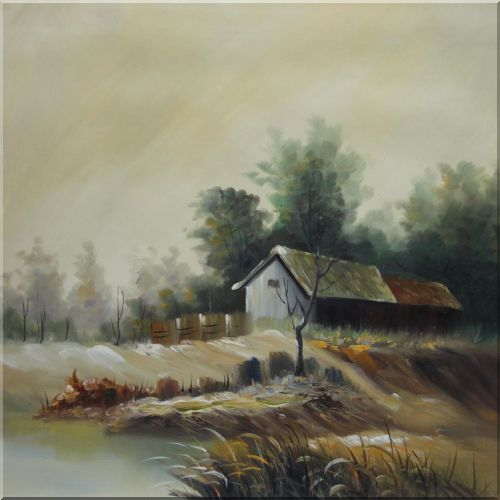 Rural Cottage in Wind Oil Painting Village Impressionism 22 x 22 Inches