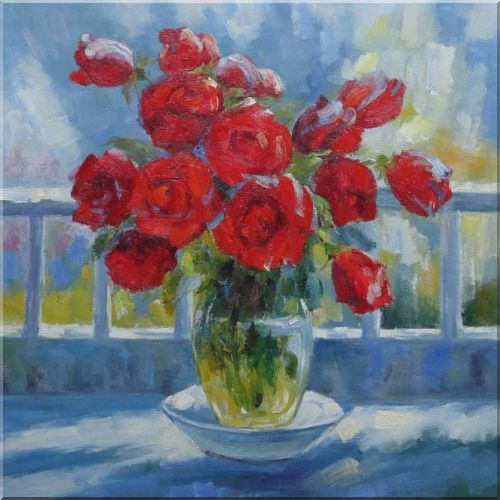 Sunny Day with Red Roses Oil Painting Flower Still Life Bouquet Impressionism 30 x 30 Inches