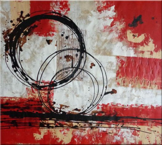 Circles of Life Oil Painting Nonobjective Decorative 36 x 40 Inches