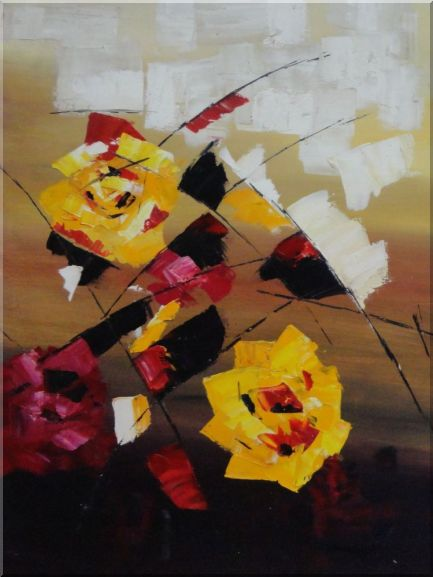 Dancing Red and Yellow Flowers - 2 Canvas Set 2-canvas-set,flower modern  32 x 48 inches