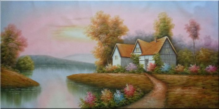 Cottage in Summer Scenic Wonderland Oil Painting Village Naturalism 36 x 72 Inches