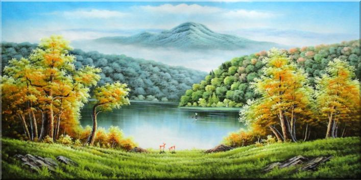 A River in Golden Autumn Scenery Oil Painting Landscape Naturalism 36 x 72 Inches