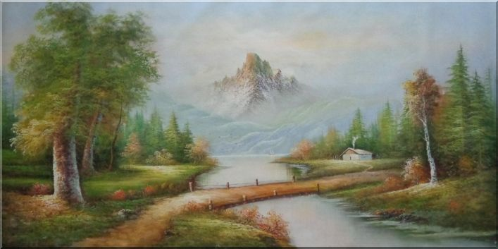 Small Trail and Creek with Snow Mountain and Trees Oil Painting Landscape River Naturalism 36 x 72 Inches