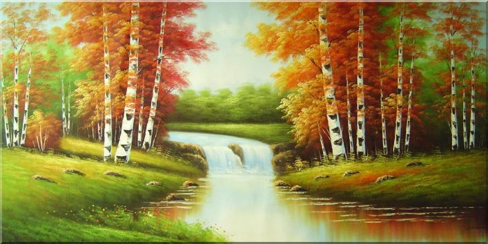 Summer Scenic View of Nature Wonderland Oil Painting Landscape River Autumn Naturalism 36 x 72 Inches