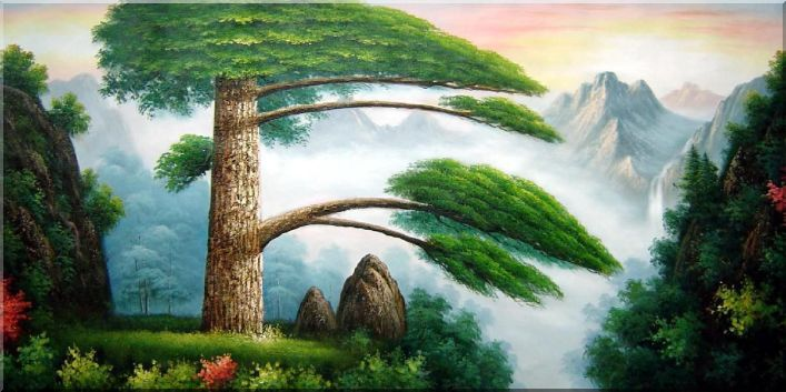 Welcome Pine in Mountain Huangshan Oil Painting Landscape Tree China Asian 36 x 72 Inches