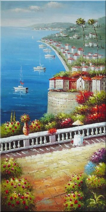 Mediterranean Harbor View Oil Painting Naturalism 72 x 36 Inches