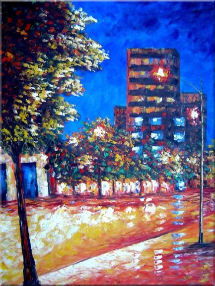 Tree, Street Light and Urban Bulilding Under Blue Sky Oil Painting Cityscape America Modern 40 x 30 Inches