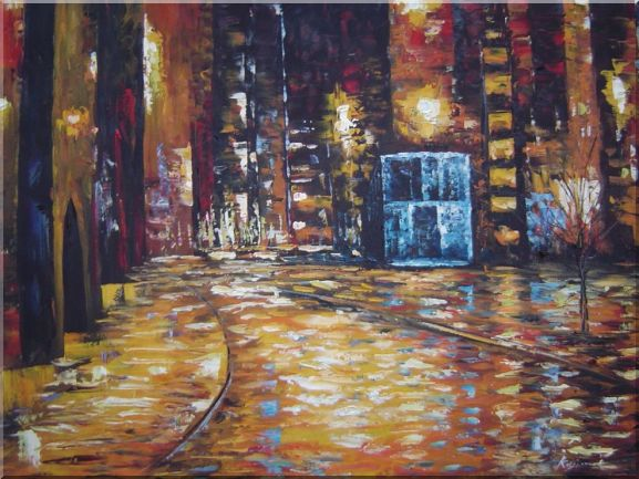 Enchanted City Night Scene With Bright Yellow Light Oil Painting Cityscape Modern 30 x 40 Inches