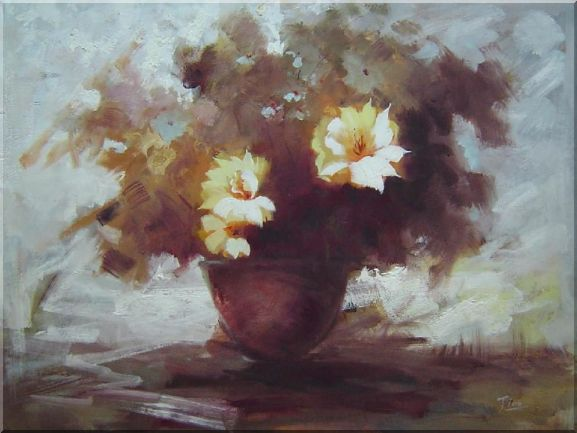 Light Yellow Flowers in Wind Oil Painting Still Life Impressionism 30 x 40 Inches