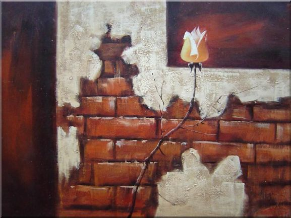 Yellow Rose and Brown Wall Oil Painting Still Life Flower Decorative 30 x 40 Inches