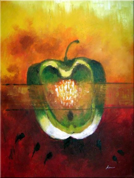 Green Pepper in a Warm Setting Oil Painting Still Life Fruit Decorative 40 x 30 Inches