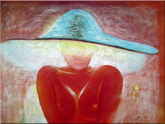 Girl with Blue Hat Oil Painting Portraits Woman Modern 30 x 40 Inches