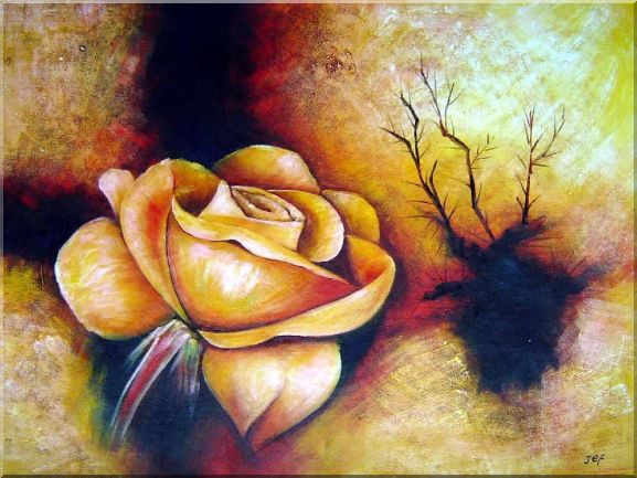 Large Yellow Rose Oil Painting Still Life Flower Modern 30 x 40 Inches