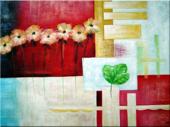 Geometric and Organic Montage Oil Painting Still Life Flower Modern 30 x 40 Inches