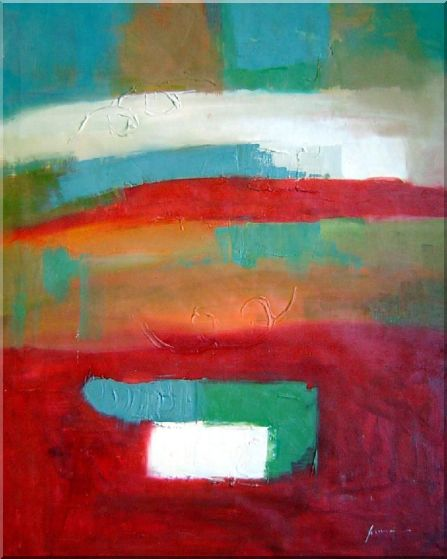Large Multiple-Color Modern Oil Painting Nonobjective 40 x 32 Inches