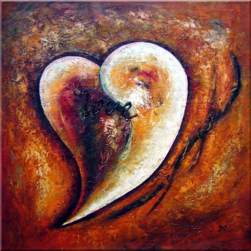 Heart of Love I Oil Painting Nonobjective Modern 30 x 30 Inches