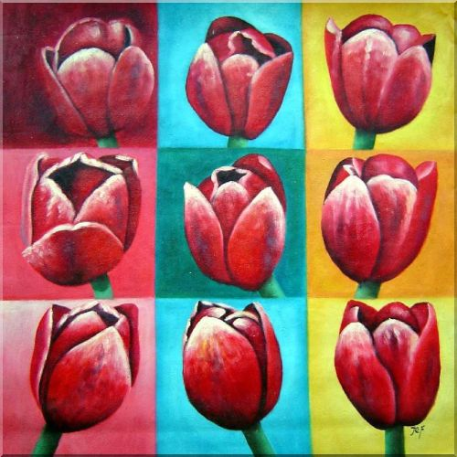 Patchwork of Red Tulips Oil Painting Flower Modern 32 x 32 Inches