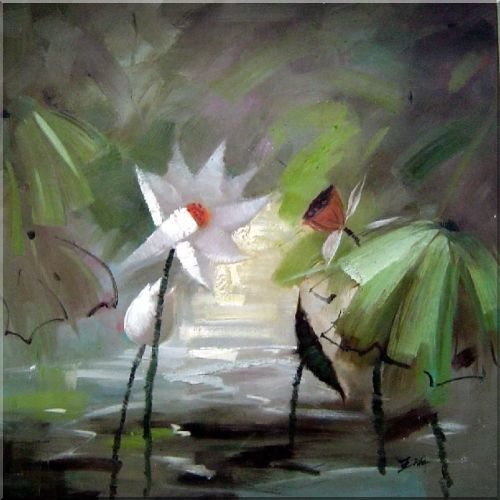The Great Beauty and Purity of Lotus Oil Painting Flower Asian 30 x 30 Inches