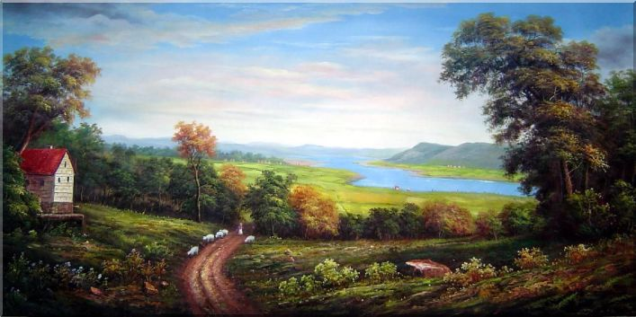 Shepard and Sheep in a Landscape Oil Painting River Classic 36 x 72 Inches