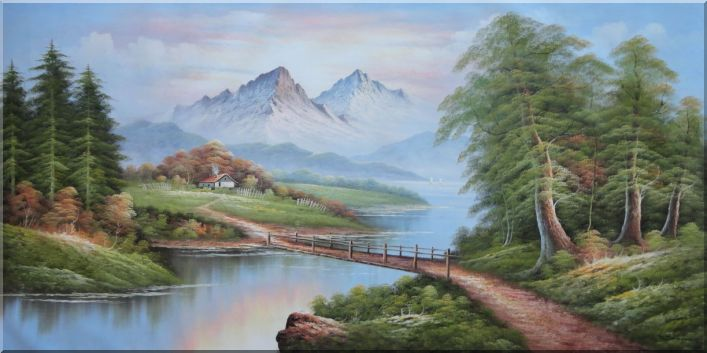 Bridge, River, Mountain, and Cottage Landscape Oil Painting Classic 36 x 72 Inches