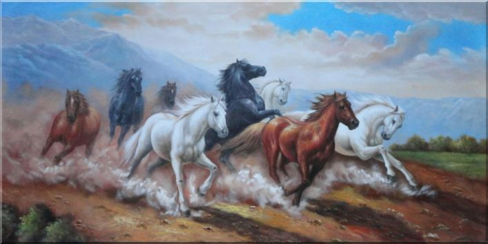 Eight Joyful Running Horses in the Wild Under Mountain Oil Painting Animal Naturalism 36 x 72 Inches